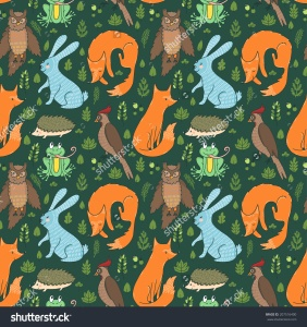 stock-vector-vector-seamless-pattern-with-leaves-berries-branches-and-cute-forest-animals-fox-rabbit-frog-207516400