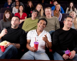 Real People Audience: Group Diverse Watching Movie Theater Comedy